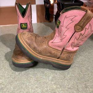 Child size 9 John Deere pink cowboy boots